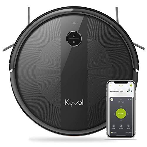 KYVOL Aspirateur Robot 2000Pa, 150Mins Autonomie, 600ML Capacité, Silencieux, Mince, Wi-Fi & App & Alexa, Carpet Boost, Barrières Virtuelles, pour Tapis, Sol Dur, Poil Animaux