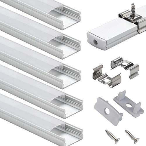 StarlandLed LED Aluminium Profile 6er Pack LED U Profil 6x100cm Endkappen, Abdeckung Opal für LED Streifen & LED Bänder LED Eckprofil