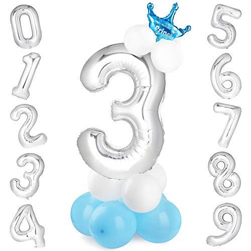 GeeRic globo numero 3, globos numeros gigantes de cumpleaños Globos de colores de látex para niños, bautizos, decoraciones de fiesta de graduación de bodas Plata