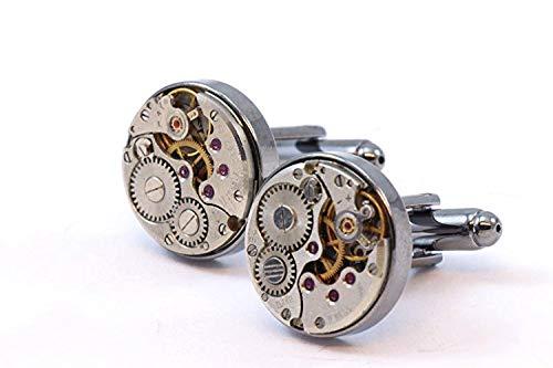 Men Steampunk Cufflinks with thick bezel - Luxury Handmade Gun Metal...