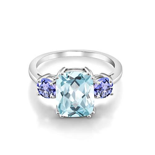Gem Stone King 3.46カラット シミュレイテッド アクアマリン 指輪 リング レディース 天然石 タンザナイト シルバー925