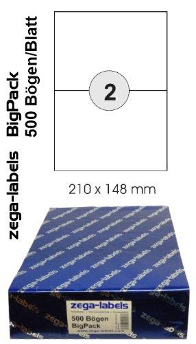 1.000 Etiketten 210 x 148 mm selbstklebend auf DIN A4 Bögen (1x2 Etiketten DIN A5) - 500 Blatt Bigpack - Universell für Laser/Inkjet/Kopierer einsetzbar