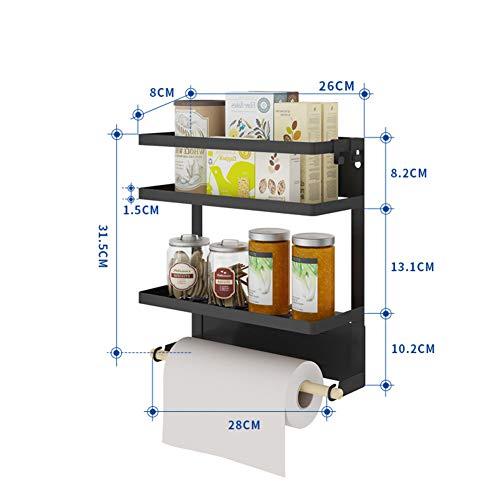 D&LE Kühlschrank Magnetische Papierhandtuchhalter Mit Regal,Küchenregal,Rostfrei Gewürzgläser Gestell,Schwere-Pflicht Kühlschrank Veranstalter Schwarz 28x31.5cm(11x12.4inch)