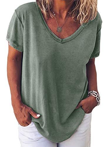 Minetom Donna Magliette Stampata a Maniche Corte Donna T-Shirt in Cotone Basic Camicetta Estivo Camicia Casuale Top B ArmyGreen 38