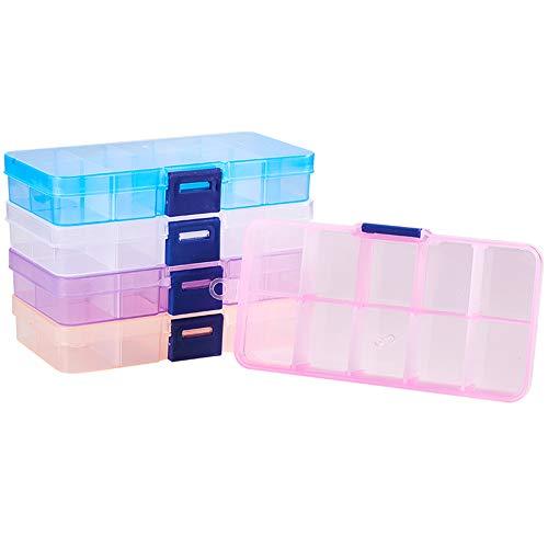 PandaHall Elite 5 Teile/Satz Rechteck Kunststoff Bead Lagerbehälter, 10 Fächer Einstellbare Teiler Organizer Aufbewahrungsbox für Schmuck Ohrring, 6,8x12,9x2,2 cm, 5 Mischfarben