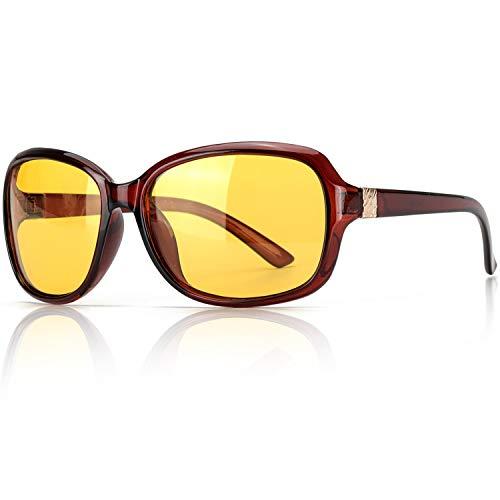 SIPHEW Nachtsichtbrille Autofahren zum Damen, Polarisiert Nachtfahrbrille Blendschutz Nacht Bille Gelbe Linse- 100% UVA/UVB Schutz