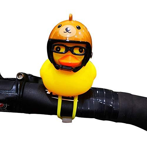 ZZA Casco de seguridad pequeño pato amarillo bicicleta campana altavoz roto viento gafas pato lámpara