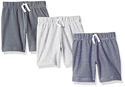 Amazon Essentials Baby Boys 3-Pack Pull-On Short, Grey/Black Stripe, 6-9M