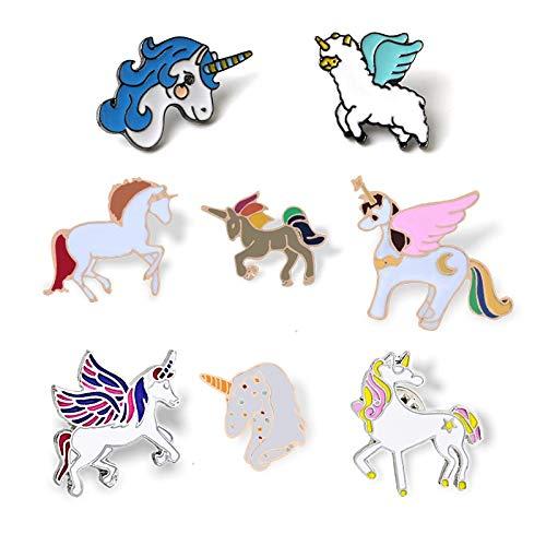 ZSCZQ Insignia de Unicornios Dibujos Animados Pegasus Alpaca compilación broches botón Pines Abrigo Chaquetas Pin niñas niños joyería Regalo Sorpresa Style4