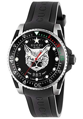 Gucci Uhr Dive 40 mm gehuse Stahl Armband Zinn und Gummi YA136320
