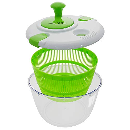 LOVKITCHEN Salad Spinner, Plastic Kitchen Large 5L Quarts Fruits and Vegetables Dryer Quick Dry Design & Drain Lettuce and Vegetable (Green-White)