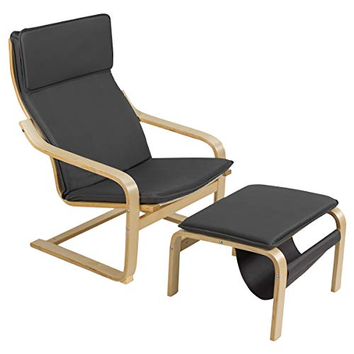 COSTWAY Relaxsessel mit Ottomane, Relaxstuhl mit Zeitungsständer, Armlehnensessel Kippschutz, Entspannungsstuhl aus Holz, Fernsehsessel inkl. abnembare Kissen (Grau)