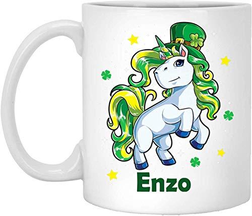 Theemok, Wit, Enzo Mok Enzo Mokken Eenhoorn Gepersonaliseerde Aangepaste Naam Wit 11 Oz Koffie Beker Eenhoorn Shamrock St Patricks Dag