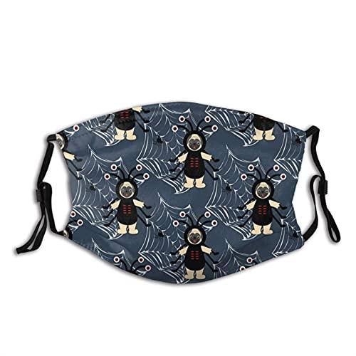 Halloween Spider Pug Face M-A-S-K, comodo passamontagna riutilizzabile bandana sciarpa regolabile per adulti (con 2 filtri)