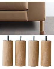 IPEA 4 x houten poten cilinder voor meubels en banken - set met 4 poten voor kast en fauteuil, poten van beukenhout, natuurlijke kleuren, 180 mm
