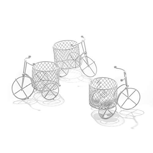 C.X.Y. 5 Pezzi Bicicletta a Tre Ruote Cestino Vintage in Materiale Ferro Vernice Bianco-Portaconfetti Bomboniere Regalo