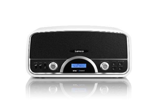 Lenco DR-05 BT Retro DAB con Radio Digitale, Bluetooth, USB Compressore, RDS, 30 Watt RMS, 2 Speaker, Bianco