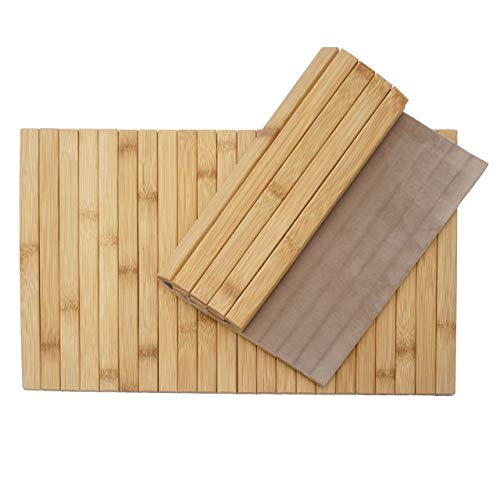 Mendler 2-teiliges Tischset HWC-E72, Platzdeckchen Tischmatte Platzset, Bambus abwaschbar flexibel 45x30cm