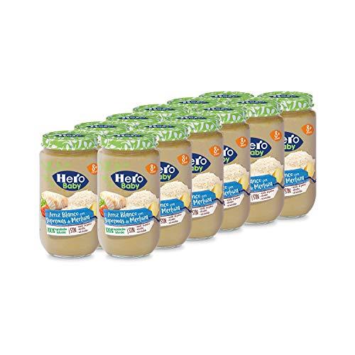 Hero Baby - Tarrito de Arroz Blanco con Supremas de Merluza, Ingredientes Naturales, para Bebés a Partir de los 8 Meses - Pack de 12 x 235 g