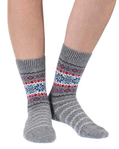 Pantherella Damen W757 Betty Schneeflocke Fairisle 85prozent Kaschmir Socken Packung mit 1 Flanell Grau 36-39