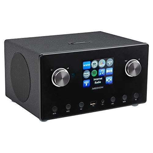 MEDION P85295 2.1 Internetradio mit DAB+ (WLAN, UKW FM, Spotify Connect, Amazon Music, DLNA, USB, LAN, Kopfhöreranschluss, Line in/Out, Weckfunktion Snooze Sleep)