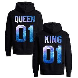 Daisy for U Pärchen Hoodie Set King Queen Pullover 1 Stücke Queen-Schwarz-Blau-M(Damen)