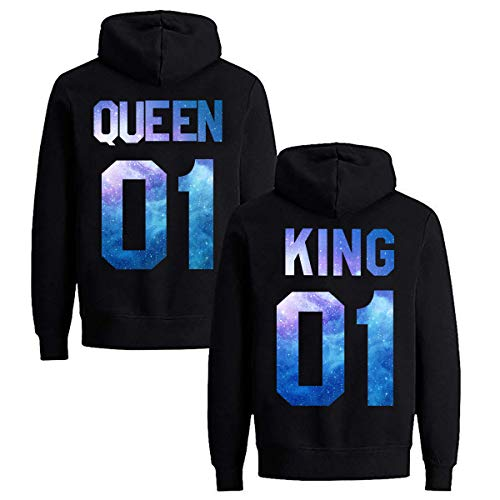 Daisy for U Pärchen Hoodie Set King Queen Pullover 1 Stücke Queen-Schwarz-Blau-L(Damen)