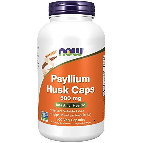 NOW Supplements, Psyllium Husk Caps 500 mg, Non-GMO Project Verified, Natural Soluble Fiber, Intestinal Health, 500 Veg Capsules
