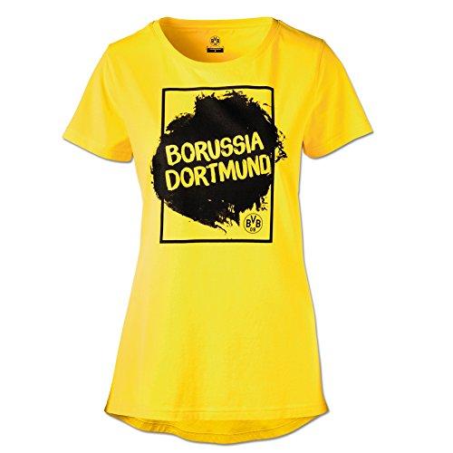 Borussia Dortmund T-Shirt für Damen, Gelb, Baumwolle, S-3XL, BVB-Emblem, Druck XXL