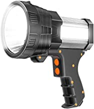 Super Bright Spotlight 6000 Lumen LED Flashlight Handheld Rechargeable Spot light 9600mAh Long Lasting Large Torchlight Searchlight and Floodlight Fishing Hiking Camping Flashlight USB Output (Silver)