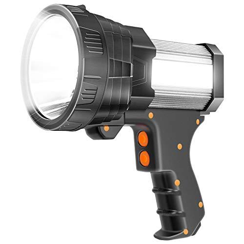 Super Bright Spotlight 6000 Lumen LED Flashlight Handheld Rechargeable Spot Lights Outdoor 9600mAh Long Lasting Large Torchlight Searchlight and Floodlight Hiking Flashlight USB Output (Silver)