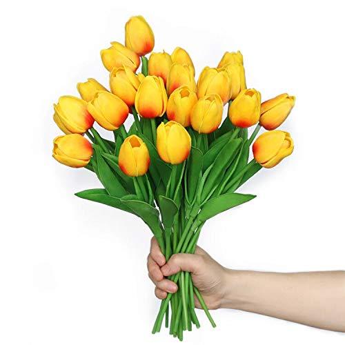 Anaoo 24pcs Flores de Tulipanes Artificiales de Látex, Floras Falsas Pero de Tacto Real Decoración para Banquete de Boda, Hogar, Fiestas, Jardín, Partido del Hotel, Naranja