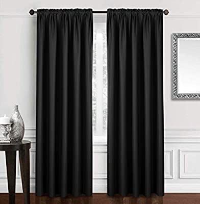 """Dreaming Casa Solid Blackout Curtain for Bedroom 96 Inches Long Draperies Window Treatment Black Rod Pocket 2 Panels 52"""" W x 96"""" L"""