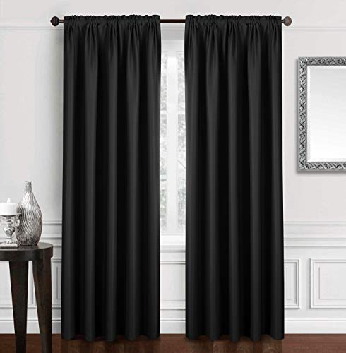 "Dreaming Casa Solid Blackout Curtain for Bedroom 96 Inches Long Draperies Window Treatment 2 Panels Black Rod Pocket 2(52"" W x 96"" L)"