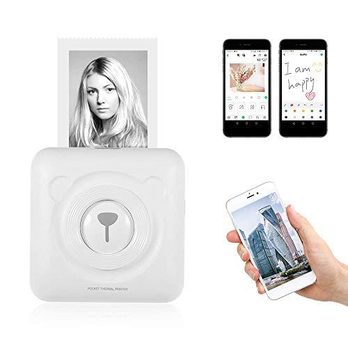 LHZTZKA Mini Impresora Bluetooth Impresora Fotográfica Instantánea, Impresora Fotográfica portátil Impresora de Recibos de Etiquetas térmicas Compatible con Dispositivos Android iOS Sistema