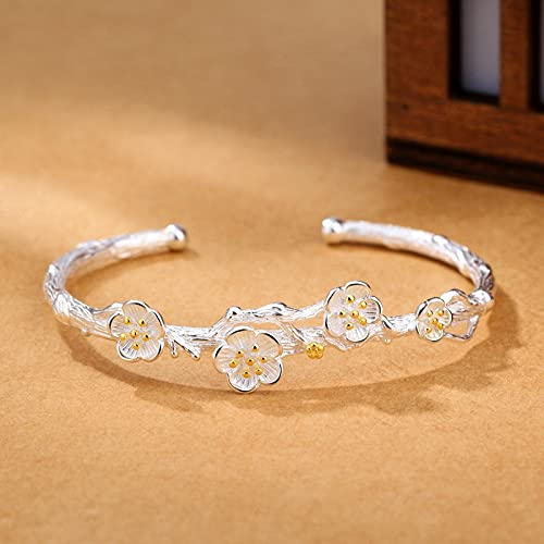 Pulseras y brazaletes Abiertos de Plata de Ley 925 para Mujer, Regalo de cumpleaños geométrico con Flores