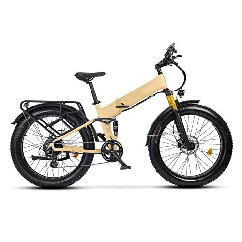 Liu Yu·casa creativa Bicicleta eléctrica para Adultos Plegable 26 Pulgadas neumático Gordo 750W 48W 14Ah batería de Litio Ebike Bicicleta eléctrica de suspensión Completa (Color : Desert Tan)