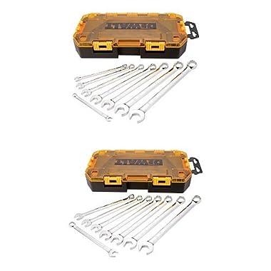 DEWALT DWMT73809 Tough Box Tool Kit SAE Wrench Set, 8-pc w/ Tough Box Tool Kit Metric Wrench Set, 8-pc