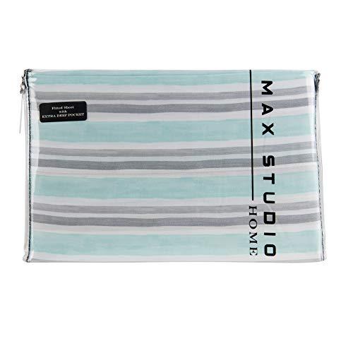 Max Studio 4 Piece Coastal Queen Cotton Sheet Set Aqua Grey Stripes on White Background