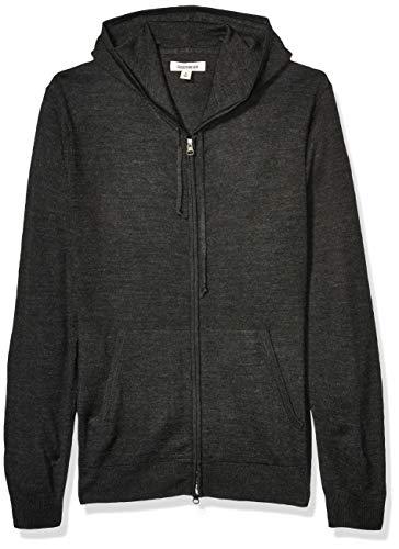 Amazon Brand - Goodthreads Men's Lightweight Merino Wool/Acrylic Fullzip Hoodie Sweater, Charcoal Medium