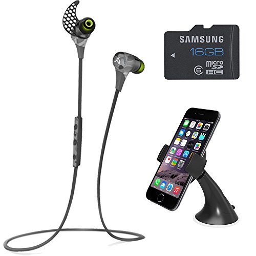 JayBird BlueBuds X Sport Camo Headphones Bundle Includes Bluetooth Headphones, iOttie Easy Smart Tap Dash Mount Holder, and Samsung High-Speed 16GB microSD Class 6 Water/Shock Proof Memory Card