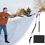 The New Snow Shovels for Snow Removal Metal - Snow Shovel with Wheels - Multifunctional Removable Snow Shovel - Cordless Snow Shovel, Winter Snow Shovel Blade Width Snow Shovel Blade Aluminium (Black)