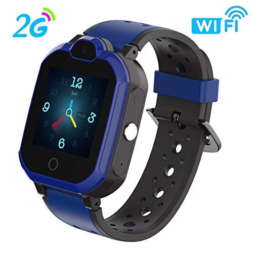 Kinder Smartwatch Touchscreen Mobile Smartwatches mit LBS SOS Voice Chat Kamera Taschenlampe Wecker Digitalkamera Kids Smart Watch für Mädchen, Kompatibel mit IOS und Android (2G)