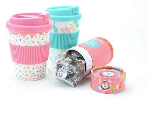 Tea to Go - Tee Becher - pink oder türkis - mit 10 Teebeutel - Grüner Tee mit Hibiskus & Pfirsich - 10 x 2 g