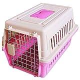LXLA Transportin Portador de Mascotas Rosa Duro para Perros y Gatos, Jaula de Viaje para Animales portátil aprobada por la aerolínea para automóvil/avión/Barco, con asa y Malla de Acero