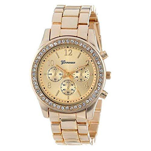 Nuevo reloj de cristales, moda para dama mujeres niñas falso cronógrafo cuarzo reloj clásico redondo (Dorado)
