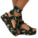 Aniywn Platform Sandals for Women,Open Toe Gladiator Ankel Strap Sexy Snakeskin Platform Sandals Comfortable Flats Shoes Green