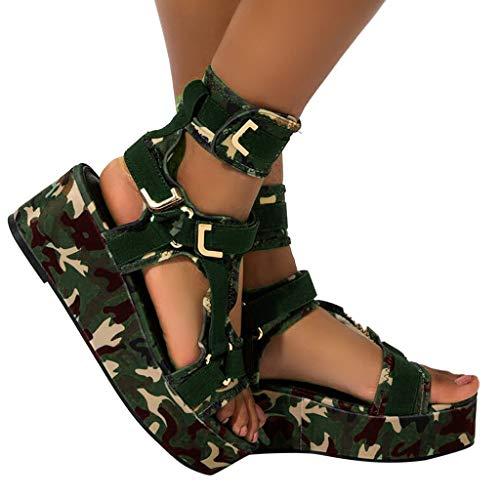 BIBOKAOKE Sandales Plateforme pour femme - Talon compensé - Sandales compensées - Mode imprimé - Plateforme - Fermeture Velcro - Chaussures de plage - Sandales décontractées pour l'extérieur