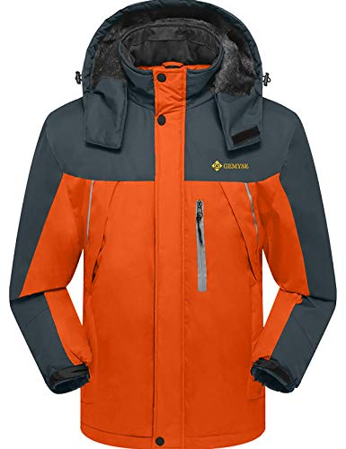 GEMYSE Men's Mountain Waterproof Ski Snow Jacket Winter Windproof Rain Jacket (Orange Grey,Large)