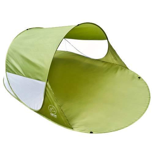 GOODS+GADGETS Canyon Cruise® Strandmuschel Pop Up Strand-Zelt Windschutz am Strand Wurfzelt Blitzschnell Selbstaufbauendes Sonnensegel Outdoor Zelt Automatik Muschel mit UV-Sonnenschutz